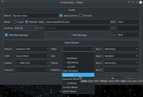Wi-Fi Astrophotograph System Controller Equipment Profiles Screenshot